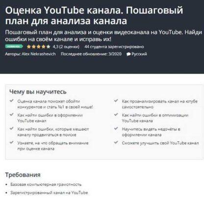 Оценка YouTube канала. Пошаговый план для анализа канала  [Alex Nekrashevich]-Скачать за 200