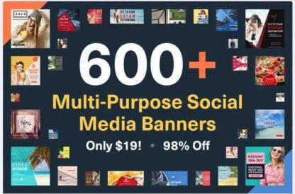 600+ многоцелевых социальных медиа-баннеров -Скачать за 200