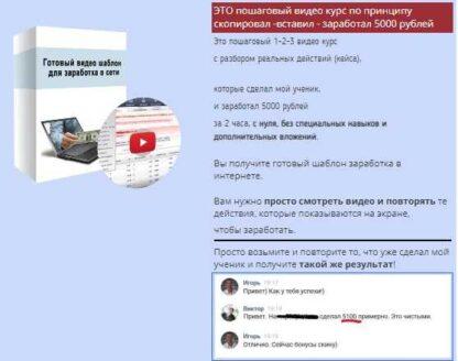 Пошаговый видео-курс заработка 5000 рублей за 2 часа-Скачать за 200