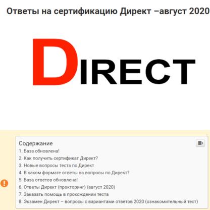 Ответы Директ  (август 2020)-Скачать за 200